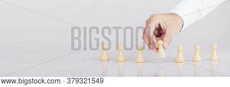 Businessman Placing With Chess Game In Competition Success Play, Concept Business Employer Strategy