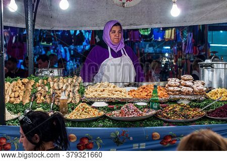 Marrakesh, Morocco - Oct 22, 2019: Jemaa El Fna Market Square In Marrakesh, Morocco, North Africa. J