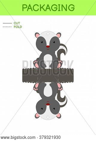 Diy Party Favor Box Die Cut Template Design For Birthdays, Baby Showers With Cute Skunk For Sweets,