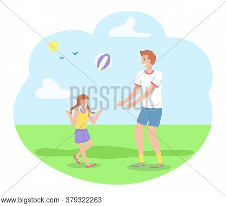 Family Spending Time In Summer Park Playing With Ball, Leisure, Kid And Dad Have Fun, Recreation, Yo