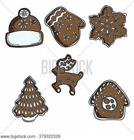Set Of Brown Gingerbread, Decorated With Icing, Pastries In The Shape Of A House, A Hat, A Mitten, A