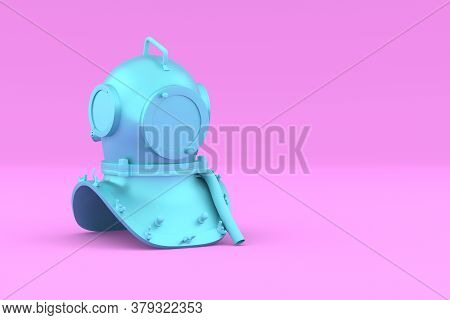 Painted Blue Scuba Helmet On Pink Background. Perspective View. Underwater Diving Helmet In Minimal