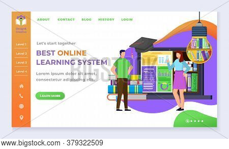 Education And Online Courses, Landing Web Page Template Students And Internet Library Vector. Textbo