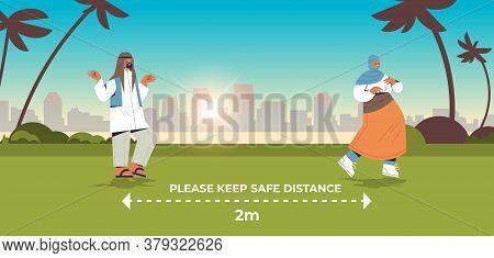 Arab People Keeping 2 Meters Distance To Prevent Coronavirus Pandemic Social Distancing Concept Arab