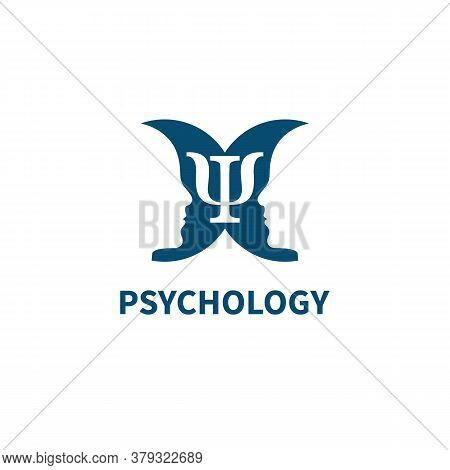 Psychology Sign With Two Mirror Profiles And Psi Symbol.