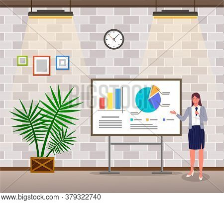 Presentation, Woman With Microphone Show Financial Plan In Office, Strategy, Graphics, Diagram, Char