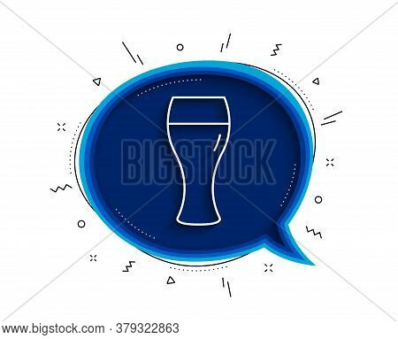 Beer Glass Line Icon. Chat Bubble With Shadow. Pub Craft Beer Sign. Brewery Beverage Symbol. Thin Li