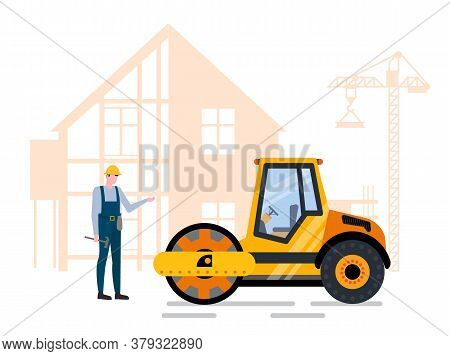 Man Worker Holding Hammer Standing Near Pressure Machine, Roadwork And Building. House Construction