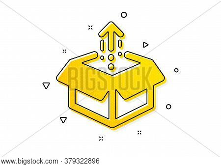 Open Delivery Parcel Sign. Send Box Icon. Cargo Package Symbol. Yellow Circles Pattern. Classic Send