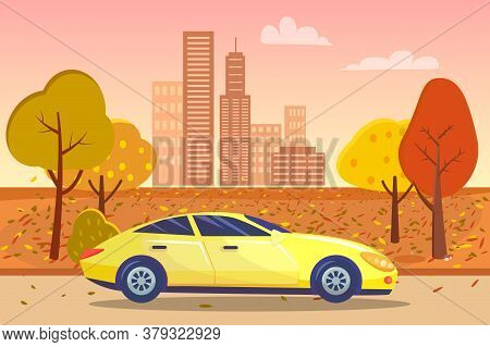 Cityscape With Skyscrapers And Infrastructure And Vehicle Passing Townscape. Muscle Car Riding Along