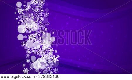 Xmas Sales With Ultraviolet Snowflakes. New Year Backdrop. Snow Border For Flyer, Gift Card, Party I