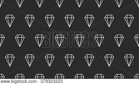 Seamless Line Diamonds Pattern. Background With Gems, Gem Stones. Fashion Backdrop