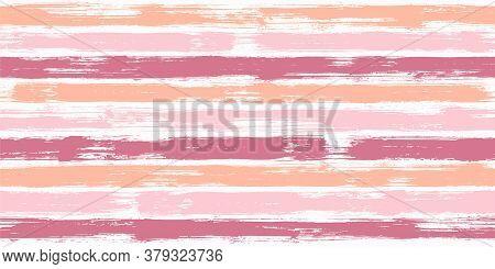 Retro Watercolor Brush Stripes Seamless Pattern. Ink Paintbrush Lines Horizontal Seamless Texture Fo