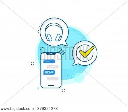 Music Listening Device Sign. Phone Messages Complex Icon. Headphones Line Icon. Dj Or Audio Symbol.