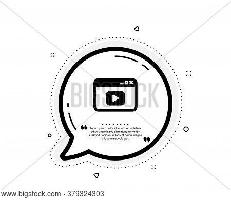 Browser Window Icon. Quote Speech Bubble. Video Content Sign. Internet Page Symbol. Quotation Marks.