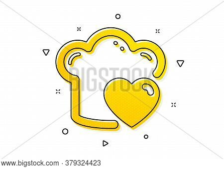 Chef Sign. Cooking Hat Icon. Love Food Preparation Symbol. Yellow Circles Pattern. Classic Love Cook
