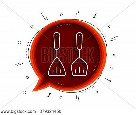 Cooking Cutlery Line Icon. Chat Bubble With Shadow. Kitchen Accessories Sign. Food Preparation Symbo