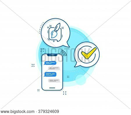 Creativity Sign. Phone Messages Complex Icon. Painting Brush Line Icon. Graphic Art Symbol. Messenge