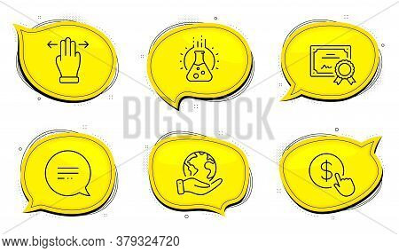 Buy Currency Sign. Diploma Certificate, Save Planet Chat Bubbles. Text Message, Multitasking Gesture