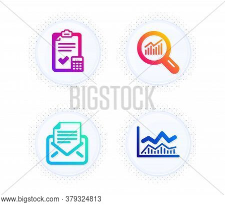 Mail Correspondence, Data Analysis And Accounting Checklist Icons Simple Set. Button With Halftone D
