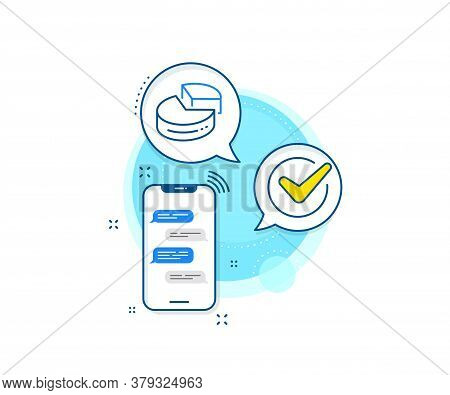 Presentation 3d Graph Sign. Phone Messages Complex Icon. Pie Chart Line Icon. Market Analytics Symbo