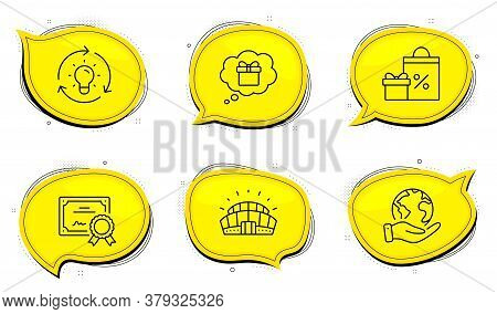 Sports Stadium Sign. Diploma Certificate, Save Planet Chat Bubbles. Idea, Shopping And Gift Dream Li