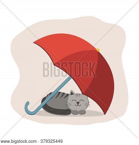 Cat Lying Under An Umbrella, Color Vector Illustration In Flat Style, On A White Background, Clipart