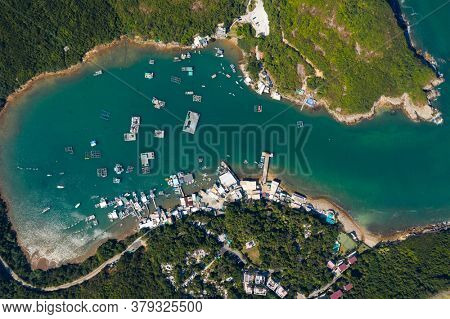 Sai Kung, Hong Kong 03 December 2019: Top view of island and sea in Po Toi O