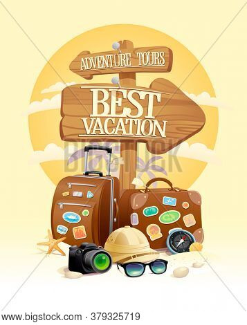 Best vacation. adventure tours - touristic design concept with travel tools, rasterized version