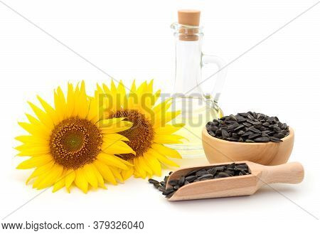 Sunflower Oil, Seeds And Flower.