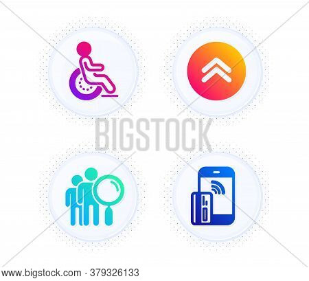 Swipe Up, Search People And Disability Icons Simple Set. Button With Halftone Dots. Contactless Paym