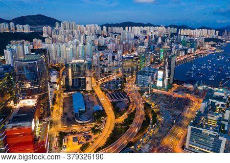 Kowloon Bay, Hong Kong 19 June 2020: Hong Kong city night