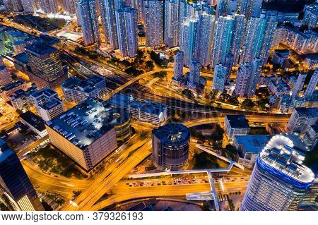 Kowloon Bay, Hong Kong 19 June 2020: Hong Kong city night