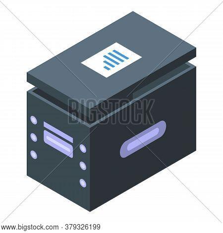 Storage Document Box Icon. Isometric Of Storage Document Box Vector Icon For Web Design Isolated On