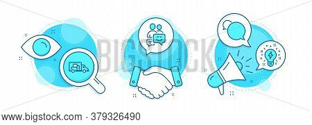 Communication, Truck Transport And Messenger Line Icons Set. Handshake Deal, Research And Promotion