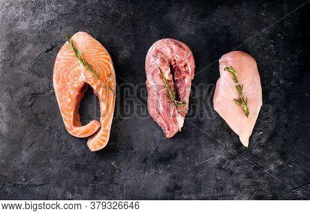 Set Of Fresh Meat And Fish. Fresh Trout Steak, Chicken Fillet, Pork Tenderloin. Protein, Omega, Prot