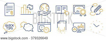 Set Of Education Icons, Such As Quick Tips, Time. Certificate, Save Planet. Candlestick Chart, Read