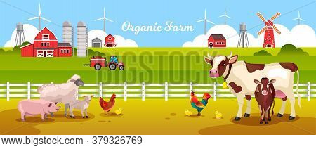 Organic Farm Landscape With Cow, Pig, Sheep, Lamb, Chicken, Rooster, Fence, Tractor, Field, Barn. Ru