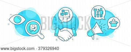 Send Box, Yummy Smile And Messages Line Icons Set. Handshake Deal, Research And Promotion Complex Ic