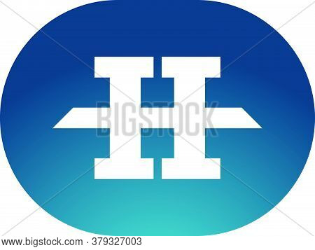Strong Letter H Logo Inside The Geometric Oval Shape. Strong, Stable, Powerful, Bold And Professiona