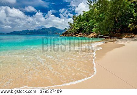 Beautiful beach Anse Soleil at Seychelles, Mahe