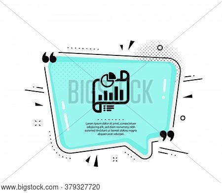Report Document Icon. Quote Speech Bubble. Column Graph Sign. Growth Diagram, Pie Chart Symbol. Quot