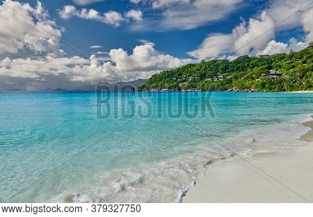 Beautiful Petite Anse beach at Mahe, Seychelles