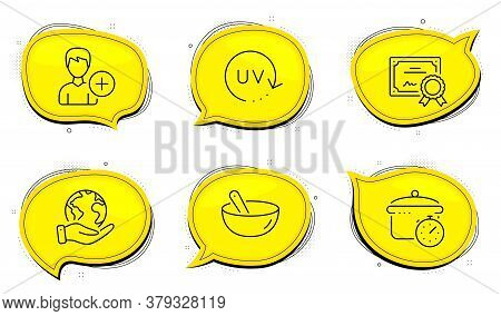 Boiling Pan Sign. Diploma Certificate, Save Planet Chat Bubbles. Add Person, Uv Protection And Cooki