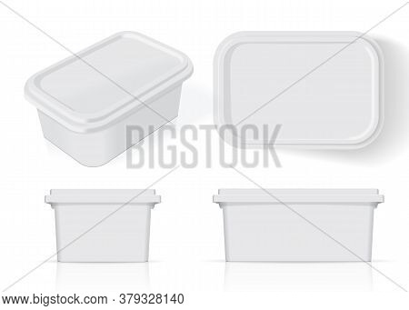 White Plastic Box For Your Design And Logo. It's Easy To Change Colors. Mock Up. Vector Eps 10