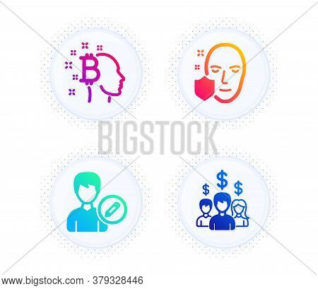 Face Protection, Edit Person And Bitcoin Think Icons Simple Set. Button With Halftone Dots. Salary E