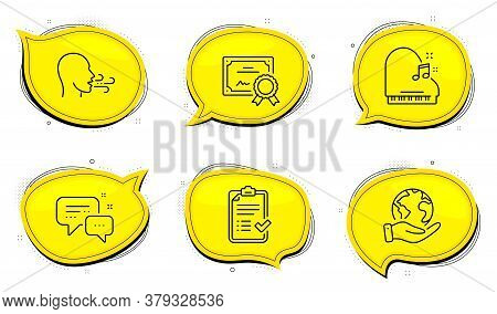 Piano Sign. Diploma Certificate, Save Planet Chat Bubbles. Breathing Exercise, Employees Messenger A