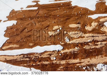 Testure Or Background With Snow, Ice And Sand In A Cold Winter Day Outdoors. Nature Landscape With F