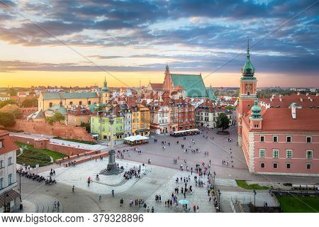 Warsaw, Poland. Hdr Image Of Plac Zamkowy Square On Sunset