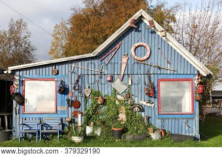 Horsens, Denmark - October 22, 2017: Fishermen's Hut In Horsens Harbor, Denmark